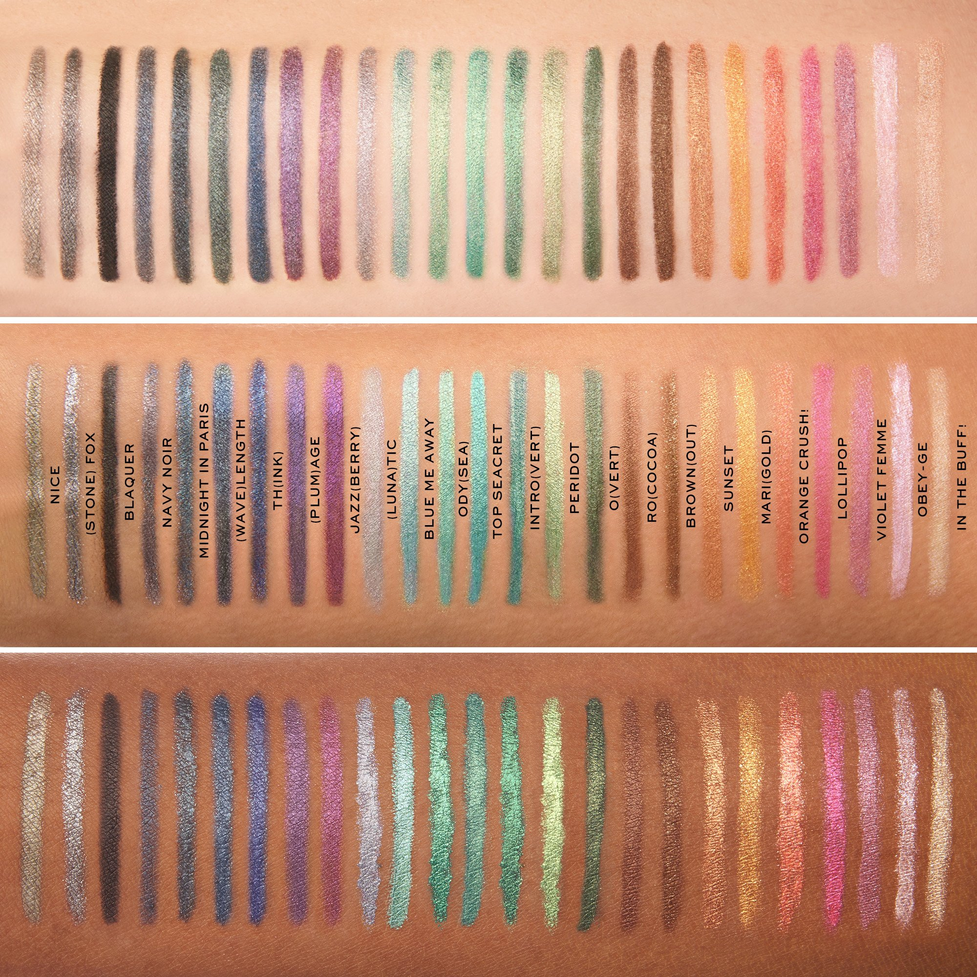 Marc Jacobs Highliner Eye Crayons Swatches with names