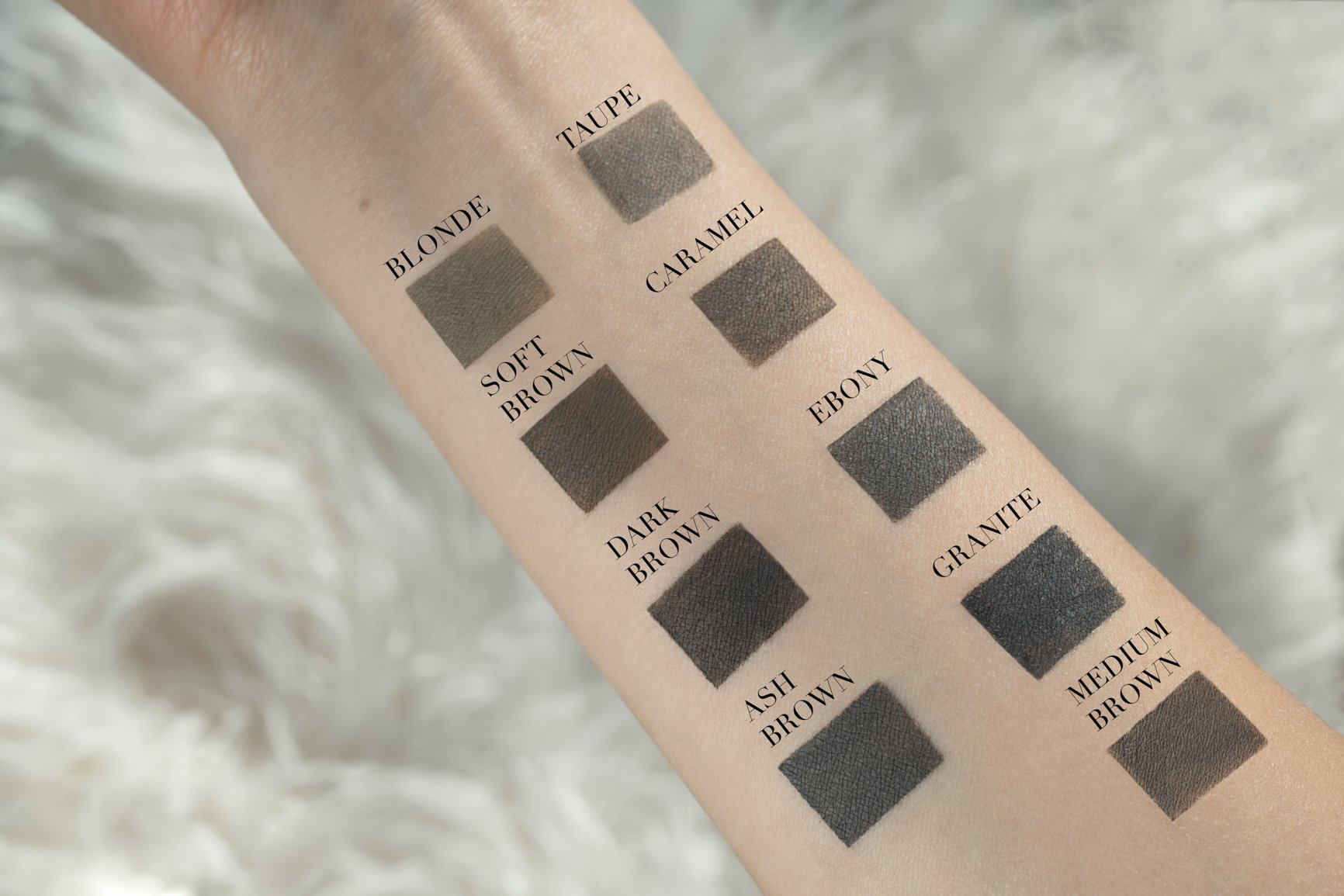 Anastasia Beverly Hills DipBrow Pomade Waterproof Brow Color swatches of shades