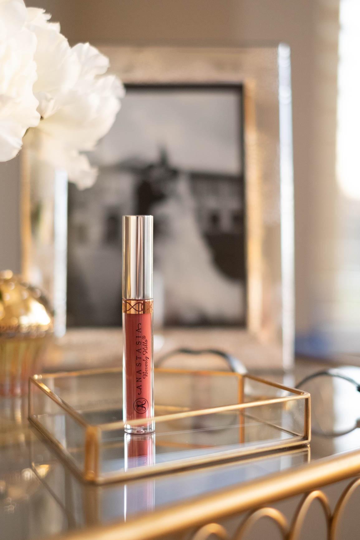 Anastasia Beverly Hills liquid lipstick on vanity table