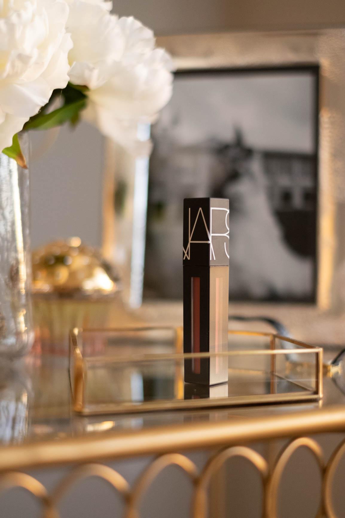 nars powermatte lip pigment liquid lipstick on vanity table