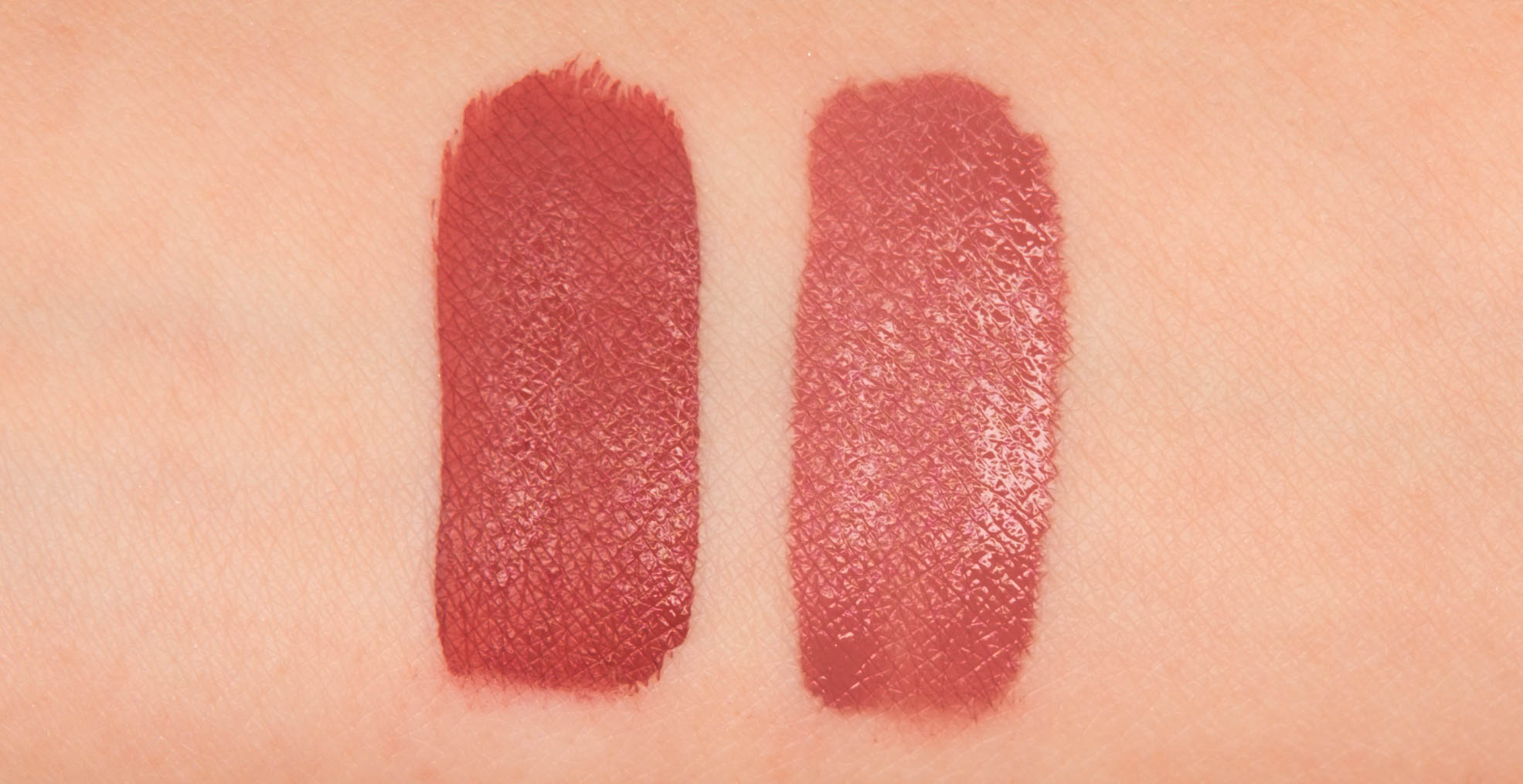 Anastasia Beverly Hills Liquid Lipstick in Kathryn, NARS Powermatte Lip Pigment in American Woman swatches side by side