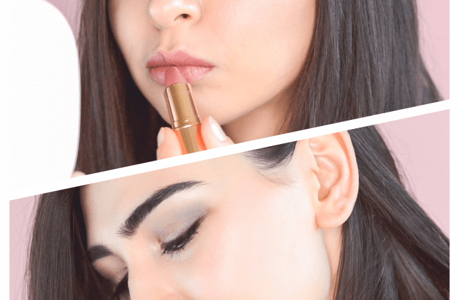Smokey Eye look with nude lipstick application collage