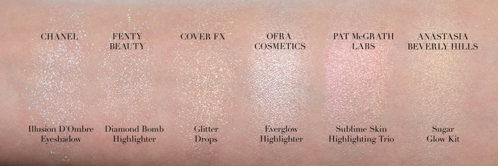 Swatches for CHANEL Illusion D'Ombre Long-Wear Luminous Eyeshadow  in 81 Fantasme FENTY BEAUTY Diamond Bomb All-Over Diamond Veil in How Many Carats?! COVER FX Glitter Drops in Mirage OFRA x NIKKIETUTORIALS Everglow Highlighter in frosty white PAT McGRATH LABS Sublime Skin Highlighting Trio in Iridescent Pink 003 ANASTASIA BEVERLY HILLS Sugar Glow Kit in Marshmallow