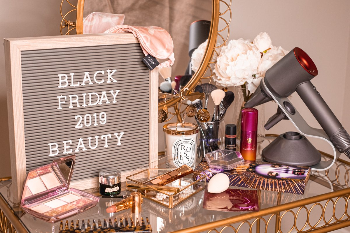 Black Friday Beauty Deals sign on vanity table