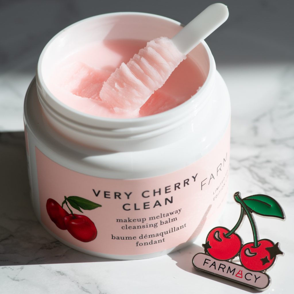 Farmacy Beauty Very Cherry Makeup Meltaway Cleansing balm with the first scoop