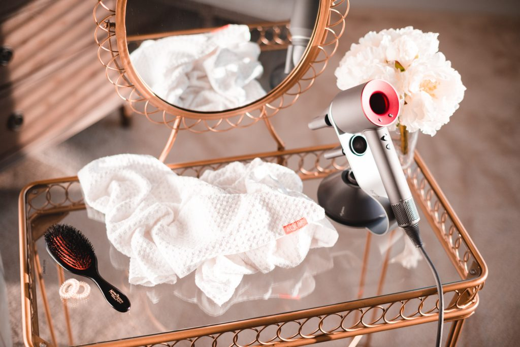 vanity table with luxury hair care products