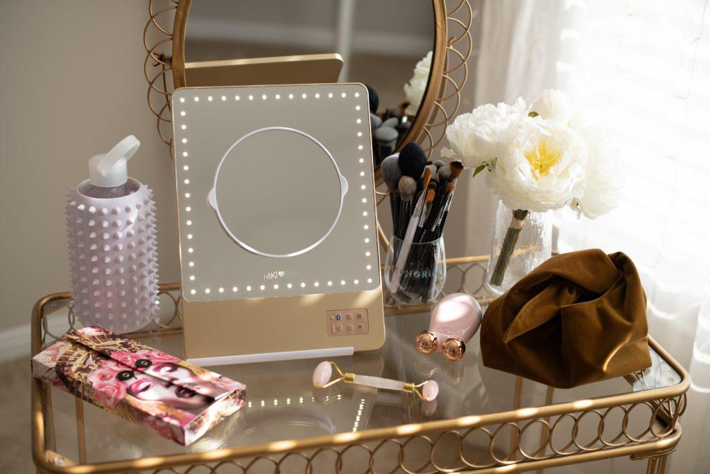 RIKI LOVES RIKI Skinny Vanity Lighted Mirror on vanity table