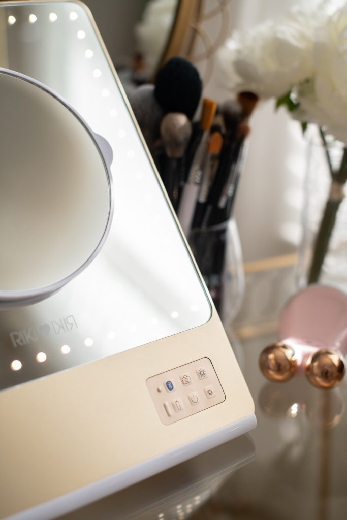 RIKI LOVES RIKI Skinny Vanity Lighted Mirror on vanity table with mirror attachment