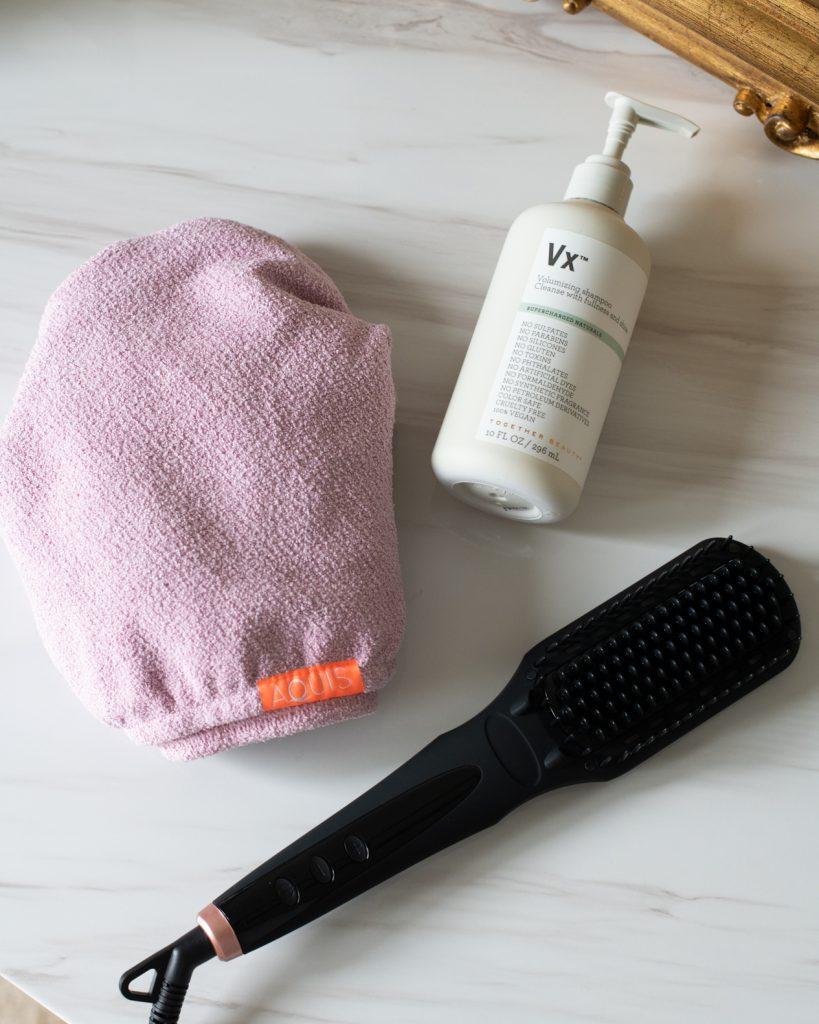 Hair care favorites: Together Beauty Vx Volumizing Shampoo, Aquis hair turban and Amika Straightening brush